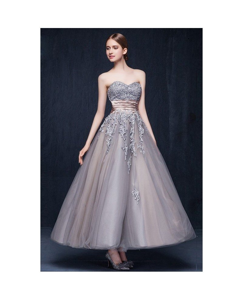 Vintage tulle ankle length wedding dresses retro wedding a for A line sweetheart tulle wedding dress
