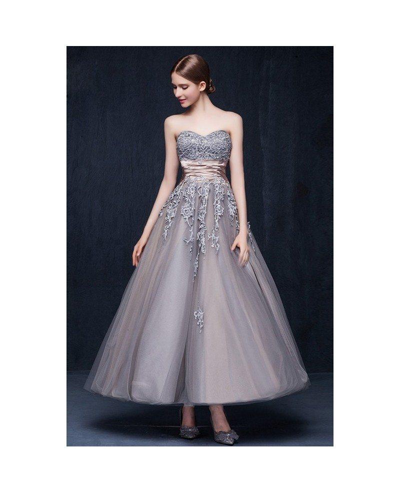 Vintage A Line Wedding Dresses: Vintage Tulle Ankle Length Wedding Dresses Retro Wedding A