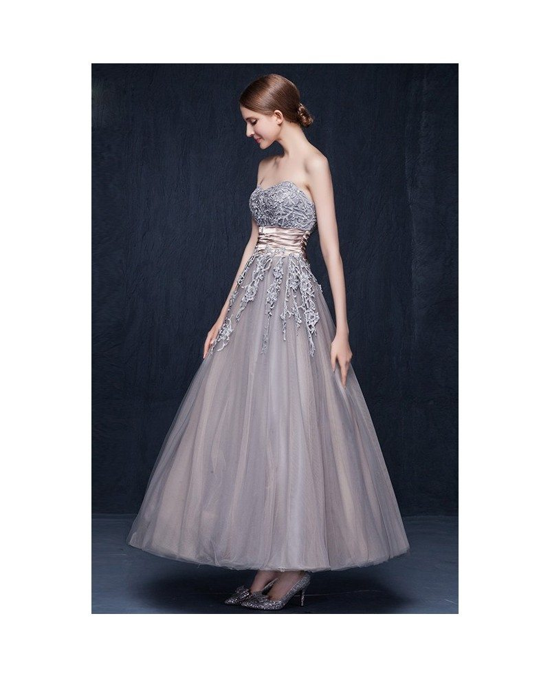 Vintage tulle ankle length wedding dresses retro wedding a for Lace ankle length wedding dress