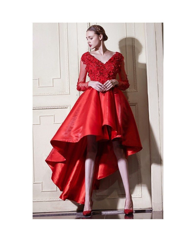 Red a line high low wedding dresses with sleeves v neck short a line v neck short front long back satin wedding dress with long sleeves ombrellifo Choice Image