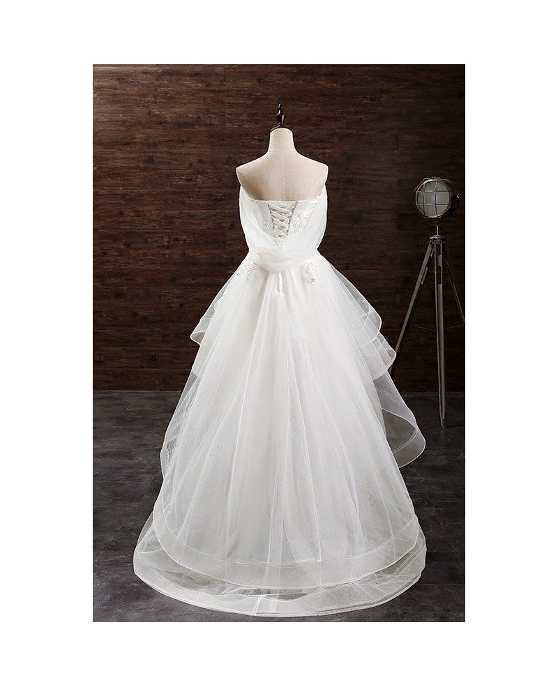 2017 ivory high low wedding dresses tulle ruffles trendy for Wedding dress high low
