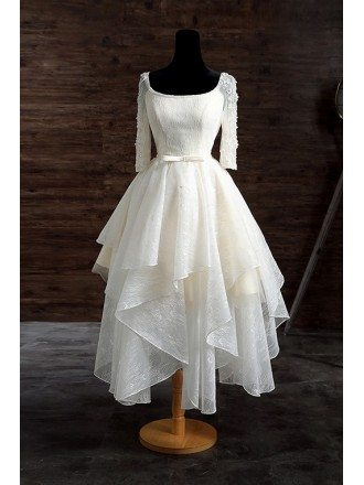 Vintage A-line Scoop Neck Short Lace Wedding Dress With Appliques Lace