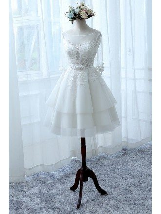 A-line Scoop Illusion Neck Short Tulle Wedding Dress With Appliques Lace