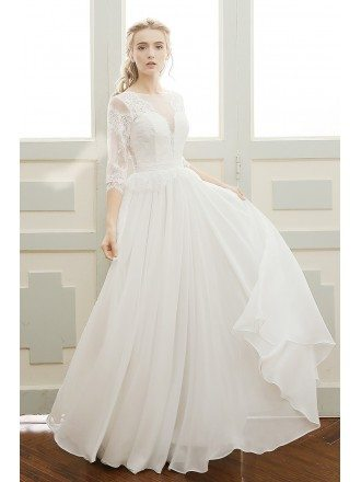 A-line Scoop Neck Floor-length Chiffon Bohemian Wedding Dress With Sleeves