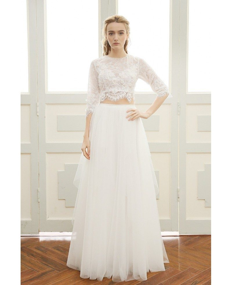 Affordable boho wedding dress a line scoop neck floor for Affordable boho wedding dresses