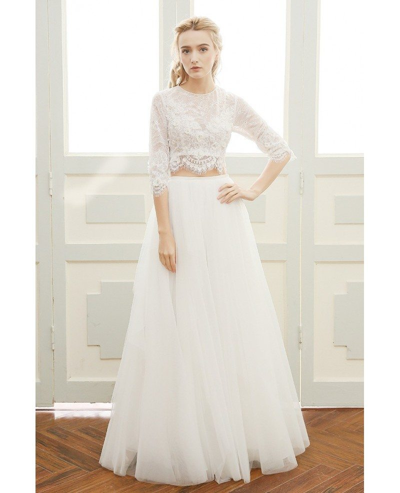 Affordable Boho Wedding Dress A-line Scoop Neck Floor-length Two ...
