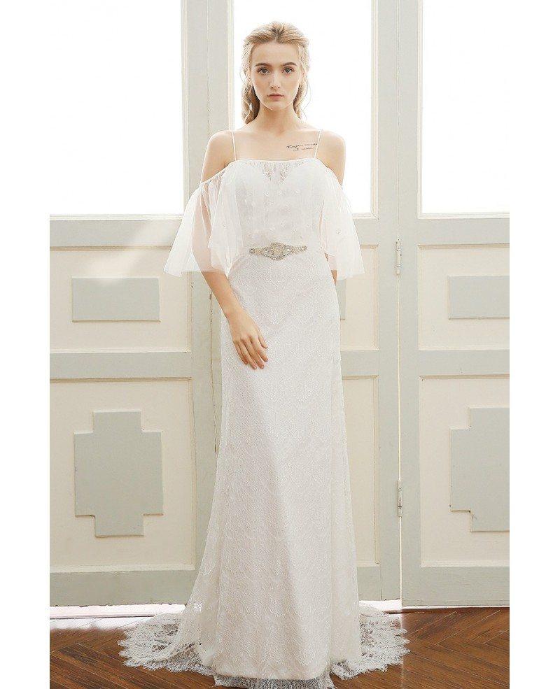 Goddess A-line Off-the-shoulder Sweep Train Beach Lace Wedding Dress ...