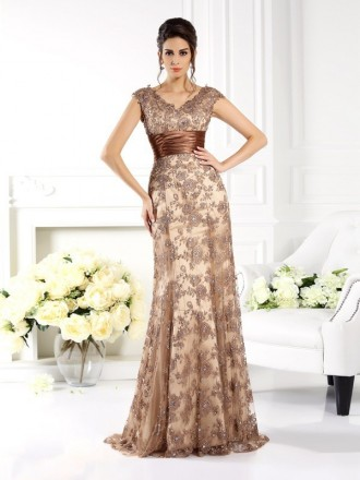 A-Line V-neck Floor-length Satin Mother of the Bride dresses With Appliques Lace