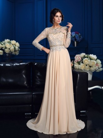A-Line Scoop Neck Sweep Train Chiffon Mother of the Bride dresses With Long Sleeves