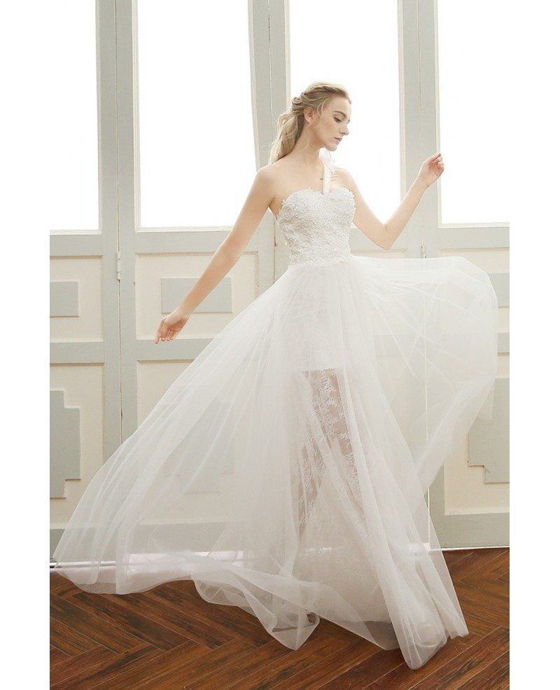 Goddess a line one shoulder floor length tulle beach for Tulle a line wedding dress