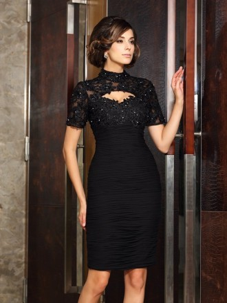 Sheath High Neck Knee-length Chiffon Mother of the Bride dresses With Appliques Lace