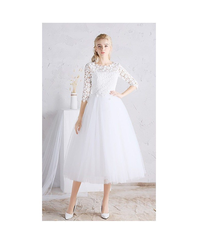 Simple Elegant Tulle A Line Scoop Neck Cap Sleeves Lace: A Line Tea Length Wedding Dresses Tulle With Sleeves Scoop