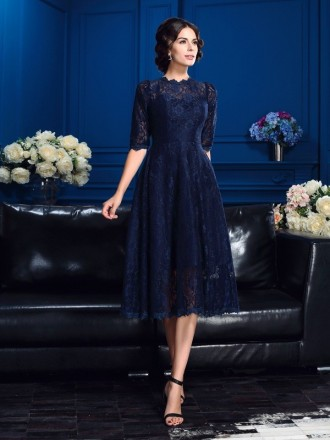 A-line High Neck Tea-length Lace Mother of the Bride dresses With Sleeves