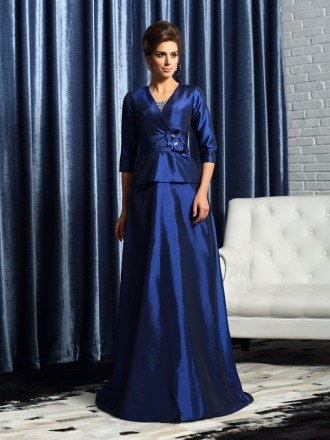 A-Line V-neck Floor-length Taffeta Mother of the Bride dresses With Sleeves