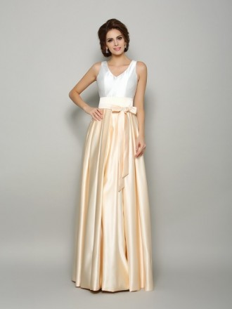A-Line V-neck Floor-length Satin Mother of the Bride dresses With Ruffle