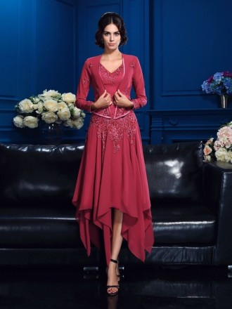 A-line V-neck High Low Chiffon Mother of the Bride dresses With Cape
