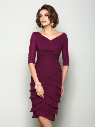 Sheath V-neck Knee-length Chiffon Mother of the Bride dresses With Sleeves