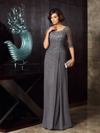 A-Line Scoop Neck Sweep Train Chiffon Mother of the Bride dresses With Lace