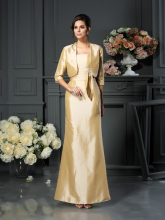 A-Line Strapless Floor-length Taffeta Mother of the Bride dresses With Cape