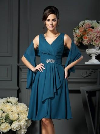 A-line V-neck Knee-length Chiffon Mother of the Bride dresses With Cape
