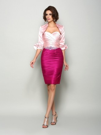 Sheath Sweetheart Knee-length Satin Mother of the Bride dresses With Cape