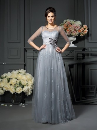 A-Line Scoop Neck Floor-length Tulle Mother of the Bride dresses With Sleeves