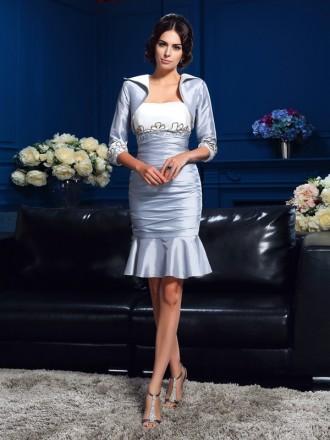 Sheath Strapless Knee-length Taffeta Mother of the Bride dresses With Cape