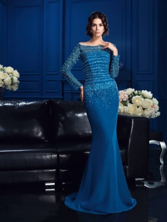 Sheath Off-the-shoulder Sweep Train Chiffon Mother of the Bride dresses With Beading