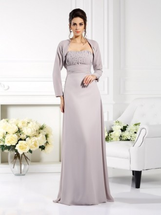 A-Line Strapless Floor-length Chiffon Mother of the Bride dresses With Cape