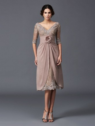 A-line V-neck Knee-length Chiffon Mother of the Bride dresses With Lace