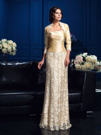 A-Line Starpless Floor-length Lace Mother of the Bride dresses With Cape