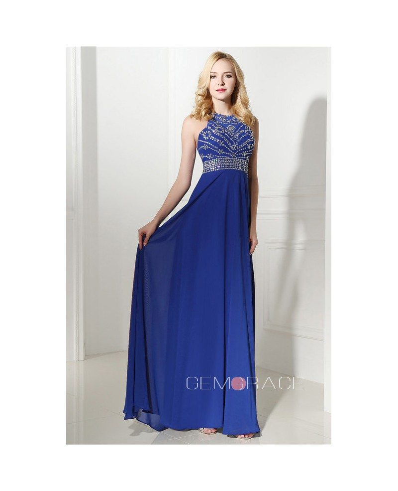 Royal Blue Halter Top And Mini Prom Dress with Beading #C06415 $178 ...
