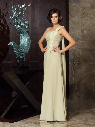 A-Line One-shoulder Floor-length Chiffon Mother of the Bride dresses With Lace