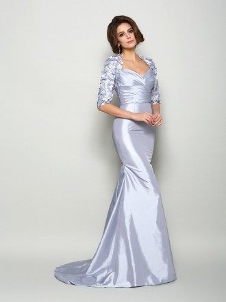 Mermaid Sweetheart Sweep Train Taffeta Mother of the Bride dresses With Cape