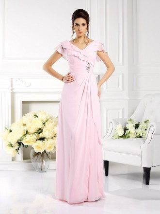 A-Line V-neck Floor-length Chiffon Mother of the Bride dresses
