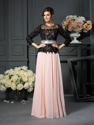A-Line Scoop Neck Floor-length Chiffon Mother of the Bride dresses With Lace