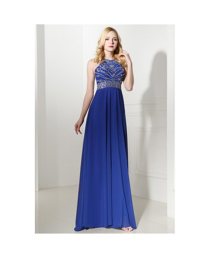 Royal Blue Halter Top And Mini Prom Dress with Beading # ...
