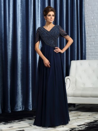 A-Line Scoop Neck Floor-length Chiffon Mother of the Bride dresses With Beading