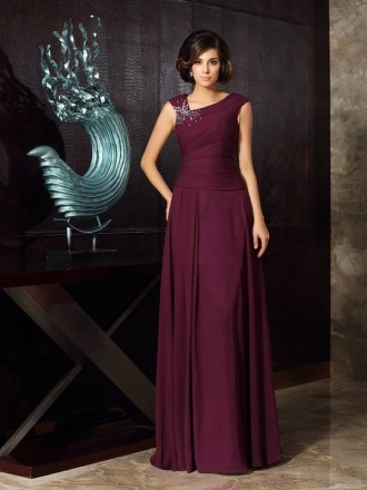 A-Line Scoop Neck Floor-length Chiffon Mother of the Bride dresses