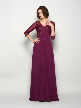 Empire V-neck Floor-length Chiffon Mother of the Bride dresses With Lace