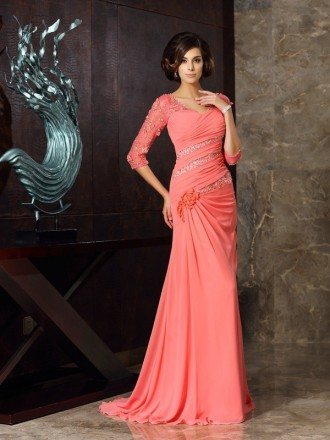 Mermaid V-neck Sweep Train Chiffon Mother of the Bride dresses