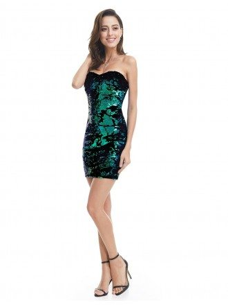 Sheath Sweetheart Sequined Short Party Dress