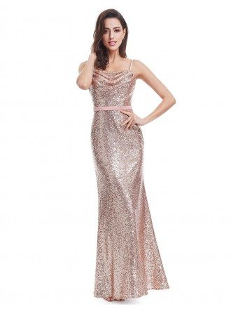 Pink Sheath Strapless Sequined Long Party Dress