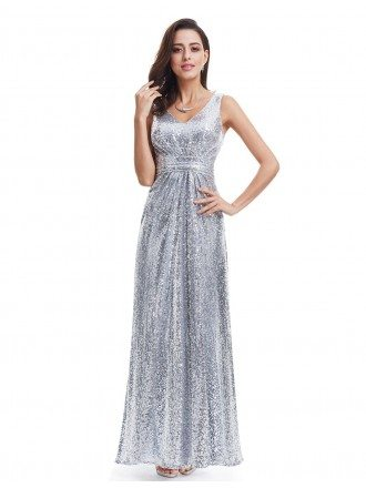 Sliver A-line V-neck Sequined Long Party Dress