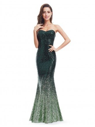 Green Mermaid Sweetheart Sequined Long Party Dress