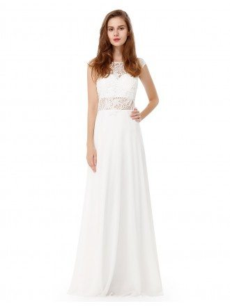 White A-line Scoop Neck Long Formal Dress With Lace