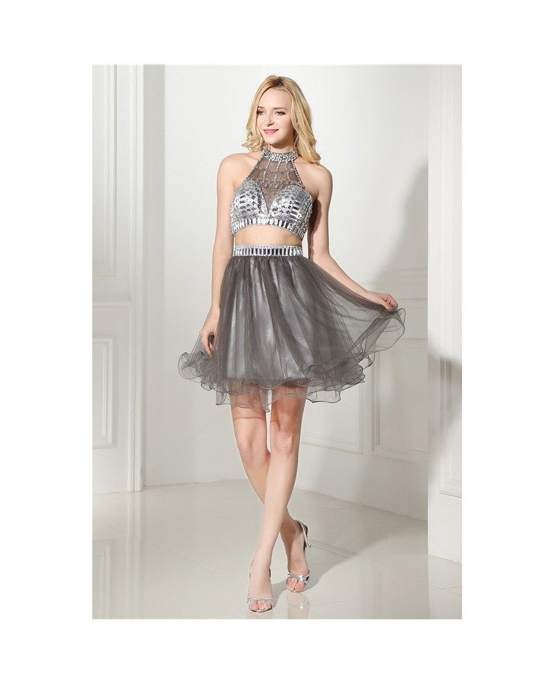 Halter Top And Knee-length Prom Dress with Beading #C06418 $170 ...
