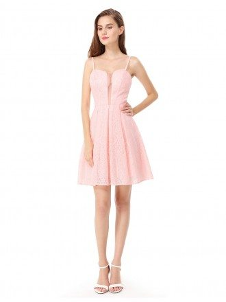 Pink A-line Sweetheart Lace Short Dress