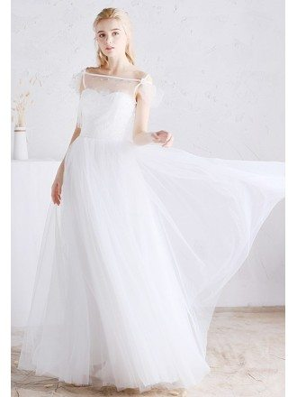 Romantic White Lace and Tulle A-line Boho Beach Wedding Dress with Split Front