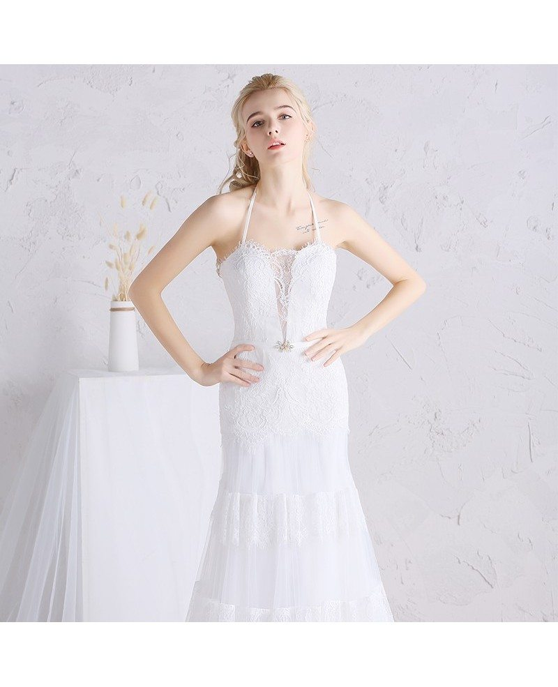 Unique long halter lace a line beach boho wedding dress for Aline halter wedding dresses